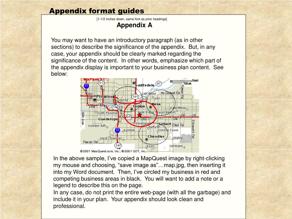 Appendix format guides