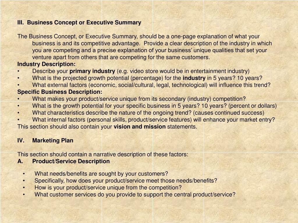 III.  Business Concept or Executive Summary