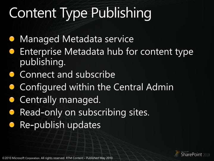 Content Type Publishing