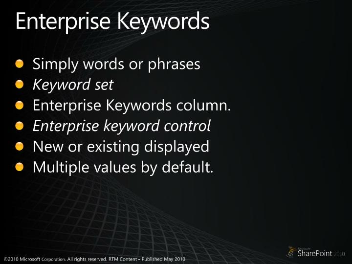 Enterprise Keywords