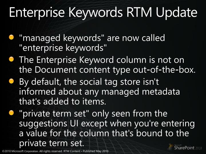 Enterprise Keywords RTM Update