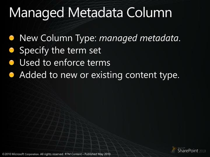 Managed Metadata Column