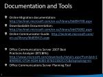 documentation and tools