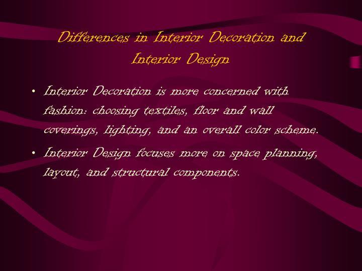 Differences in Interior Decoration and Interior Design