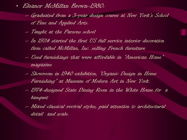 Eleanor McMillan Brown-1980: