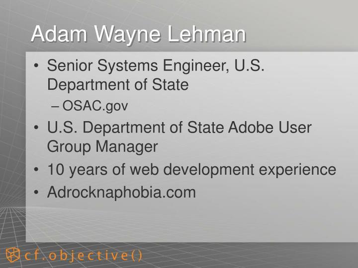 Adam wayne lehman