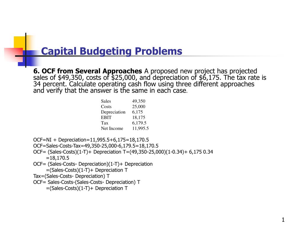 ppt capital budgeting problems powerpoint presentation id 249337