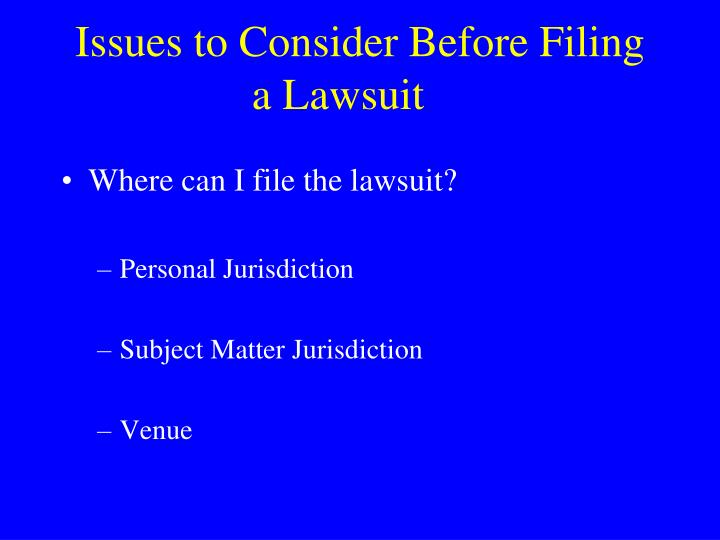 Issues to consider before filing a lawsuit