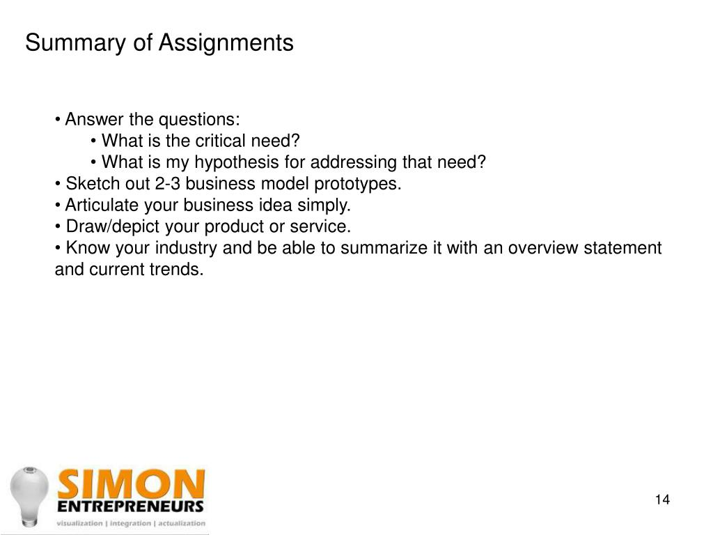Summary of Assignments