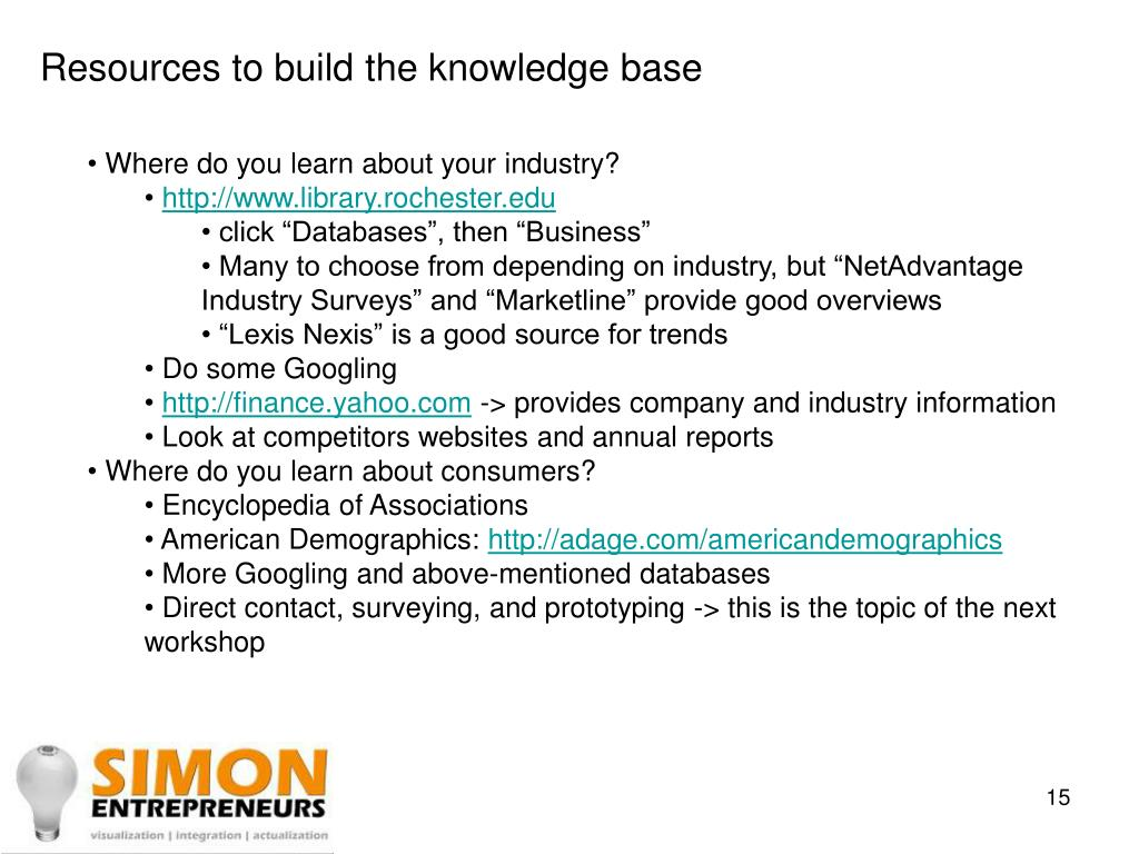 Resources to build the knowledge base