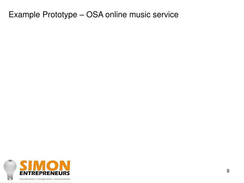 Example Prototype – OSA online music service