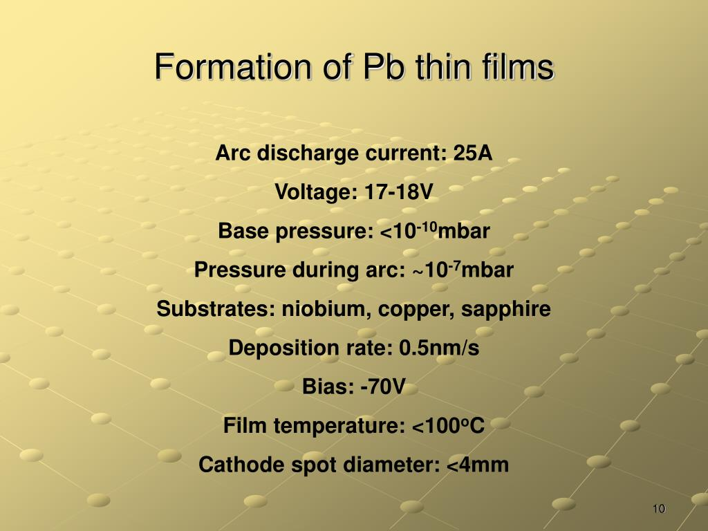 Formation of Pb thin films