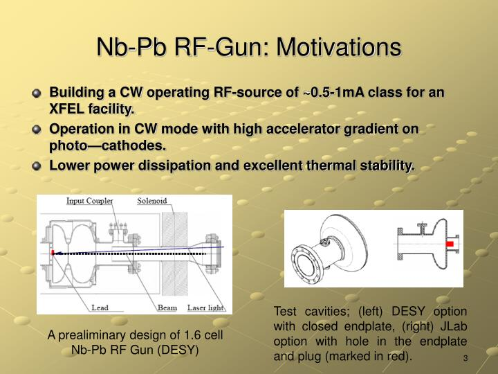 Nb pb rf gun motivations