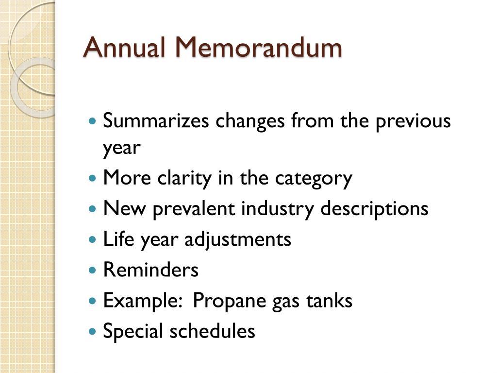 Annual Memorandum