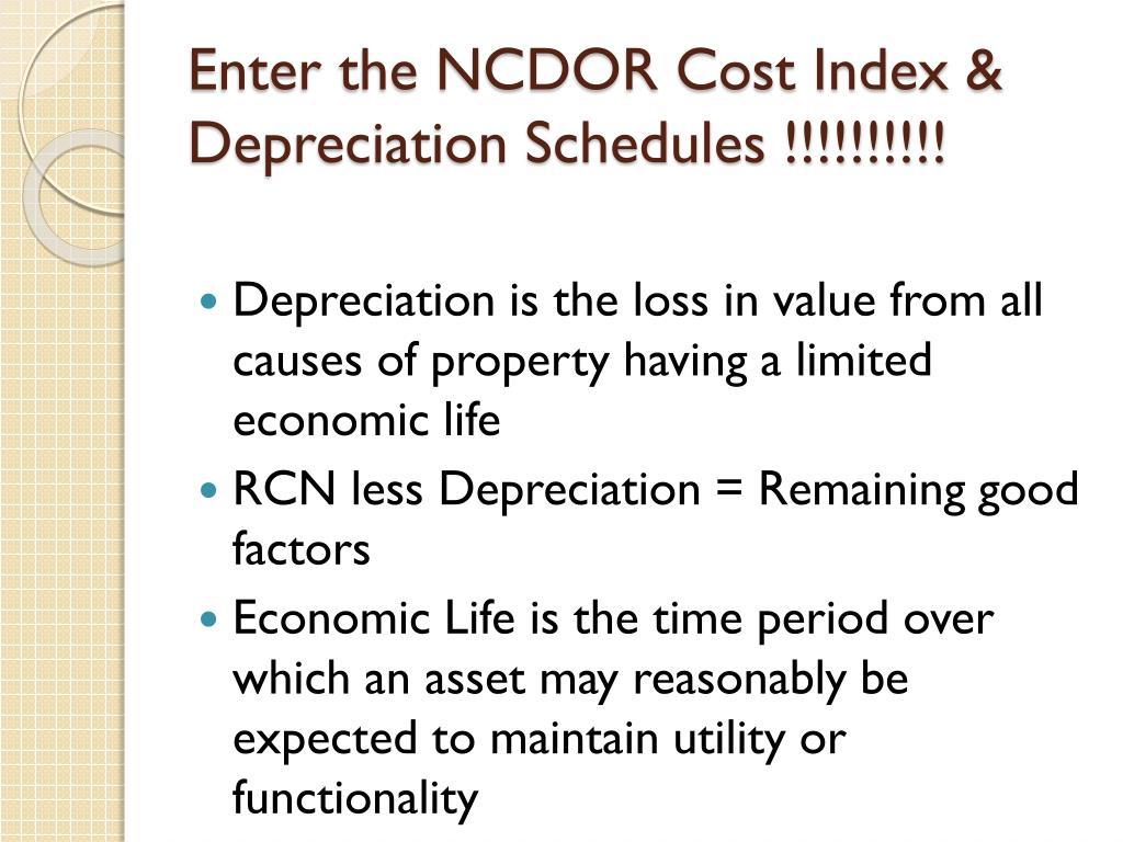 Enter the NCDOR Cost Index & Depreciation Schedules !!!!!!!!!!