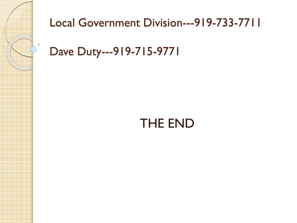 Local Government Division---919-733-7711
