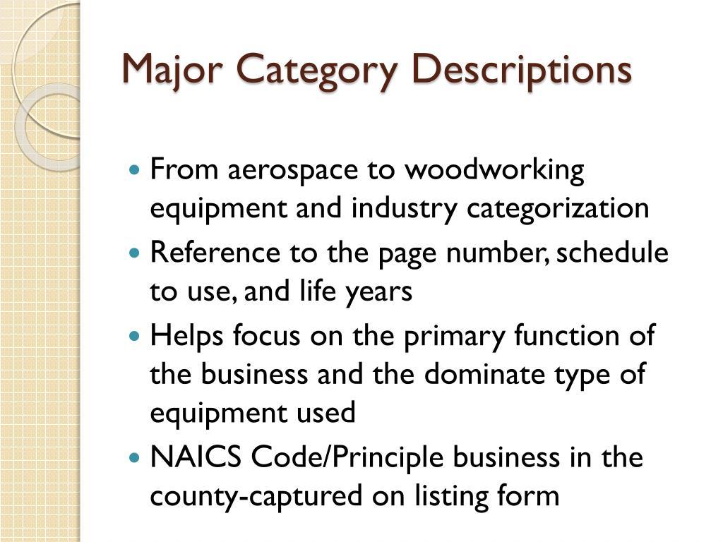 Major Category Descriptions