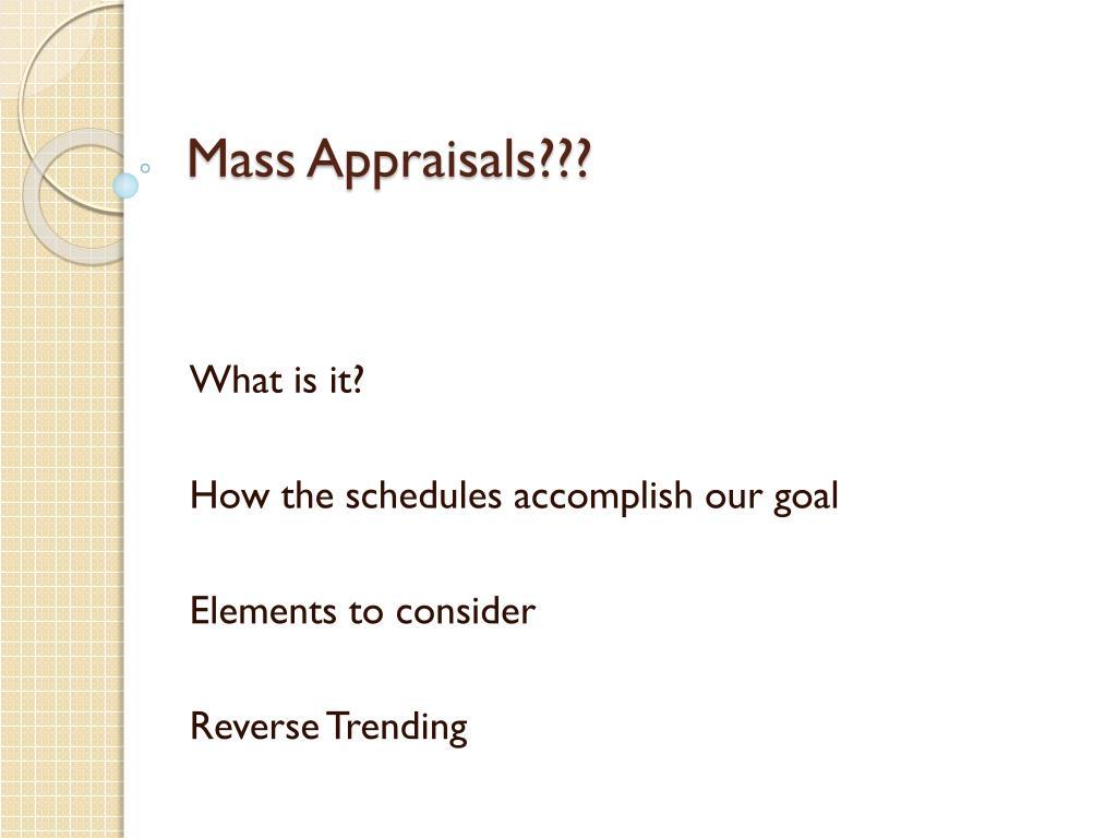 Mass Appraisals???
