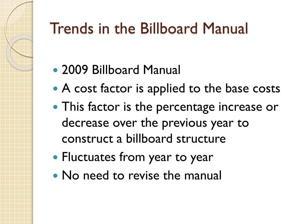 Trends in the Billboard Manual