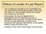effects of lender of last resort