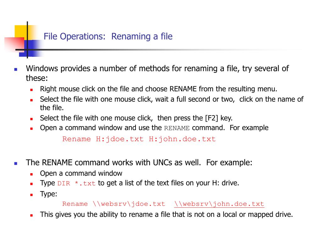 File Operations:  Renaming a file