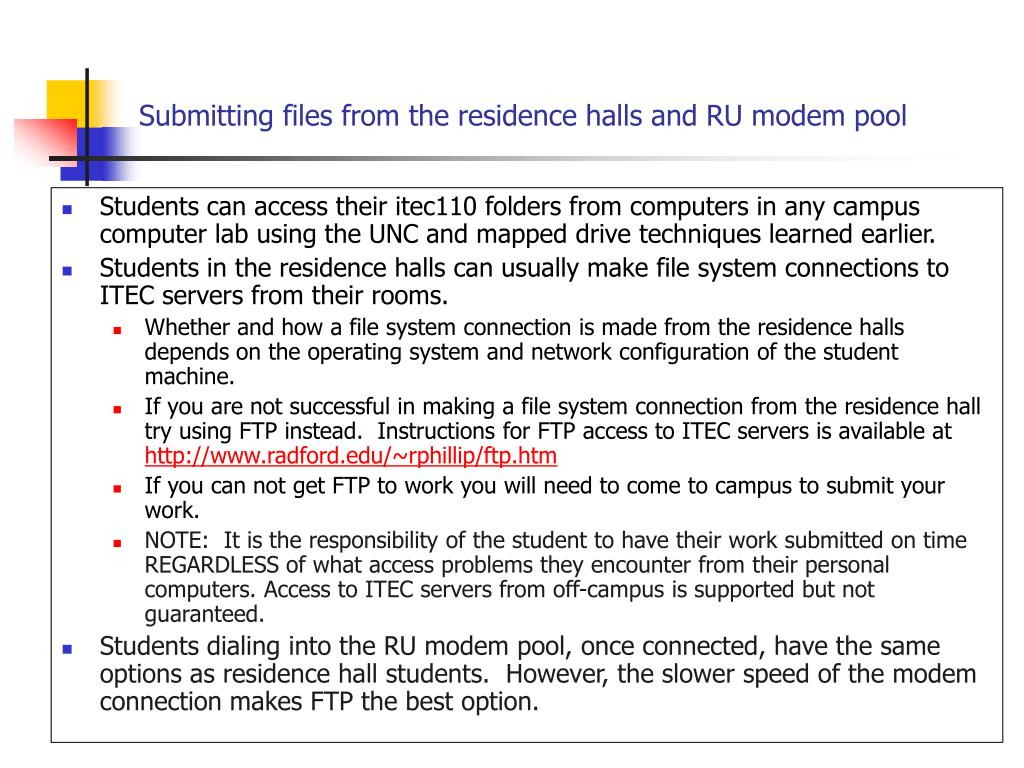 Submitting files from the residence halls and RU modem pool