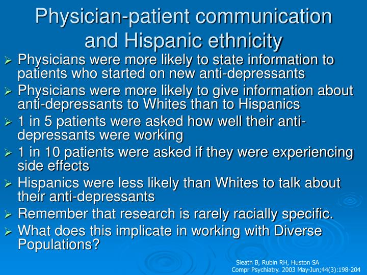 Physician-patient communication and Hispanic ethnicity