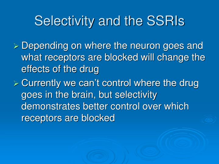 Selectivity and the SSRIs