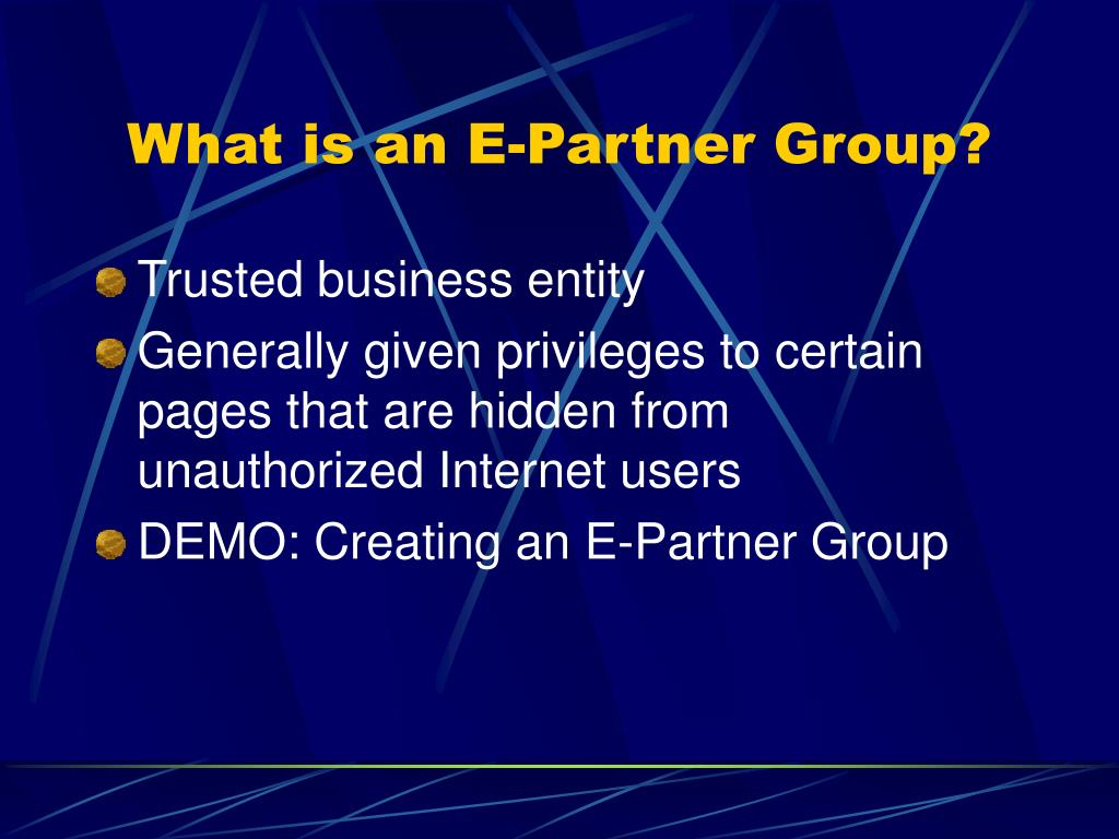 What is an E-Partner Group?