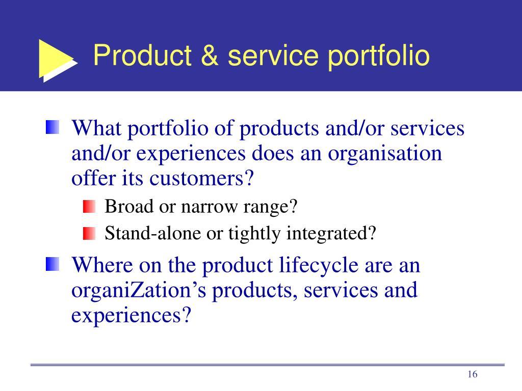 Product & service portfolio