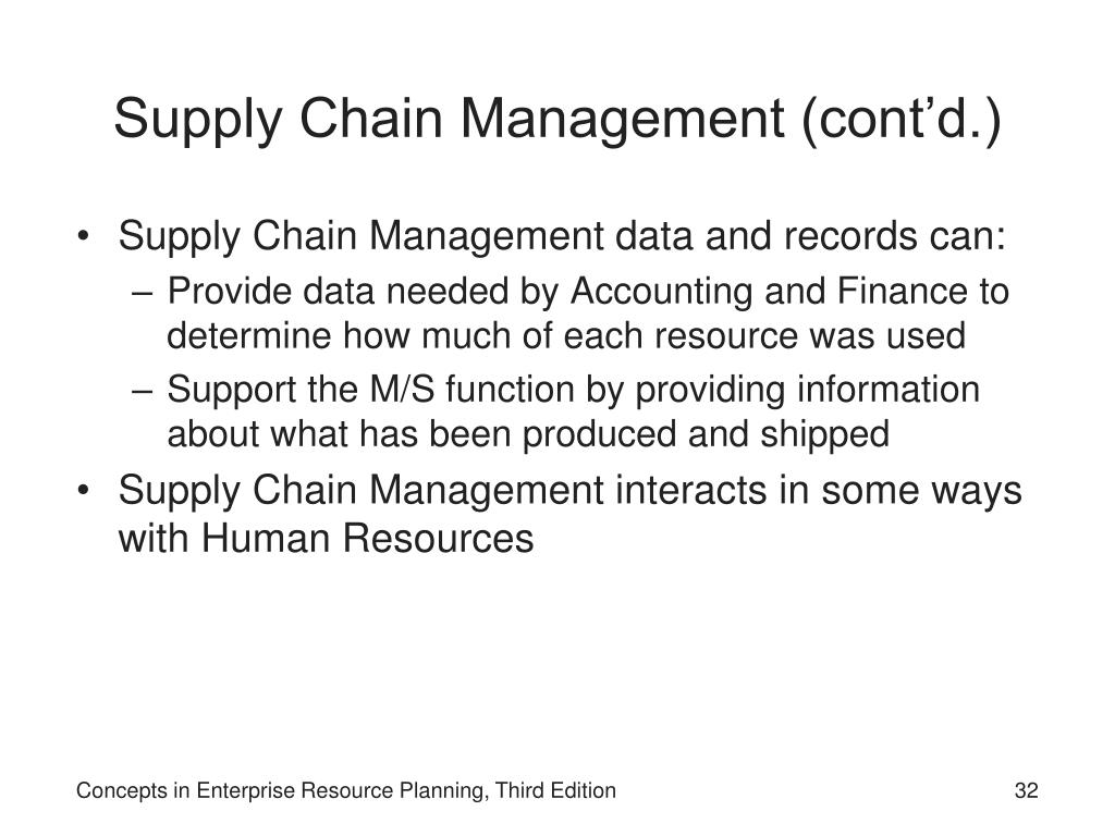 Supply Chain Management (cont'd.)
