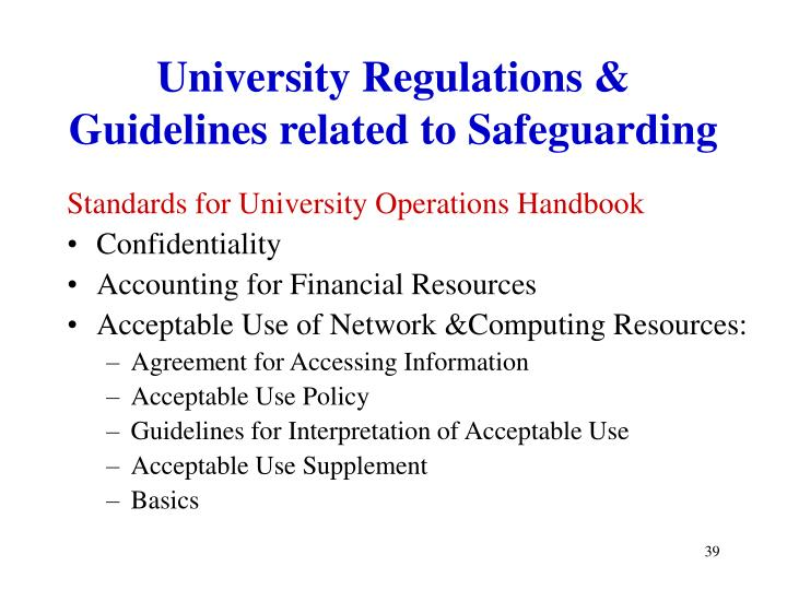 University Regulations & Guidelines related to Safeguarding
