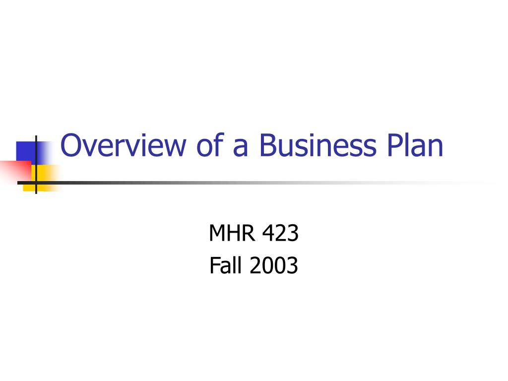 overview of a business plan l.