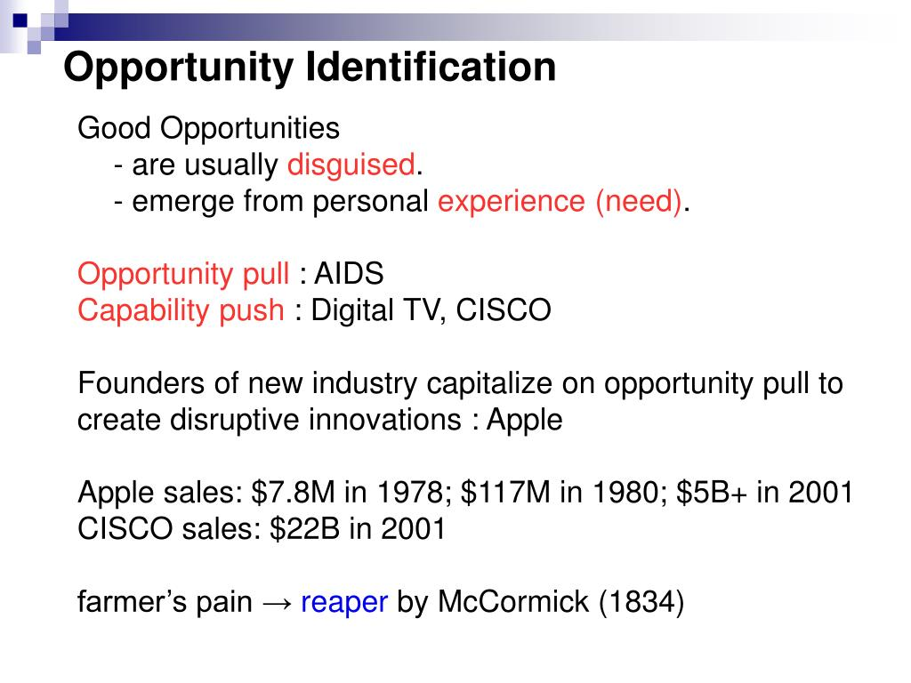 Opportunity Identification