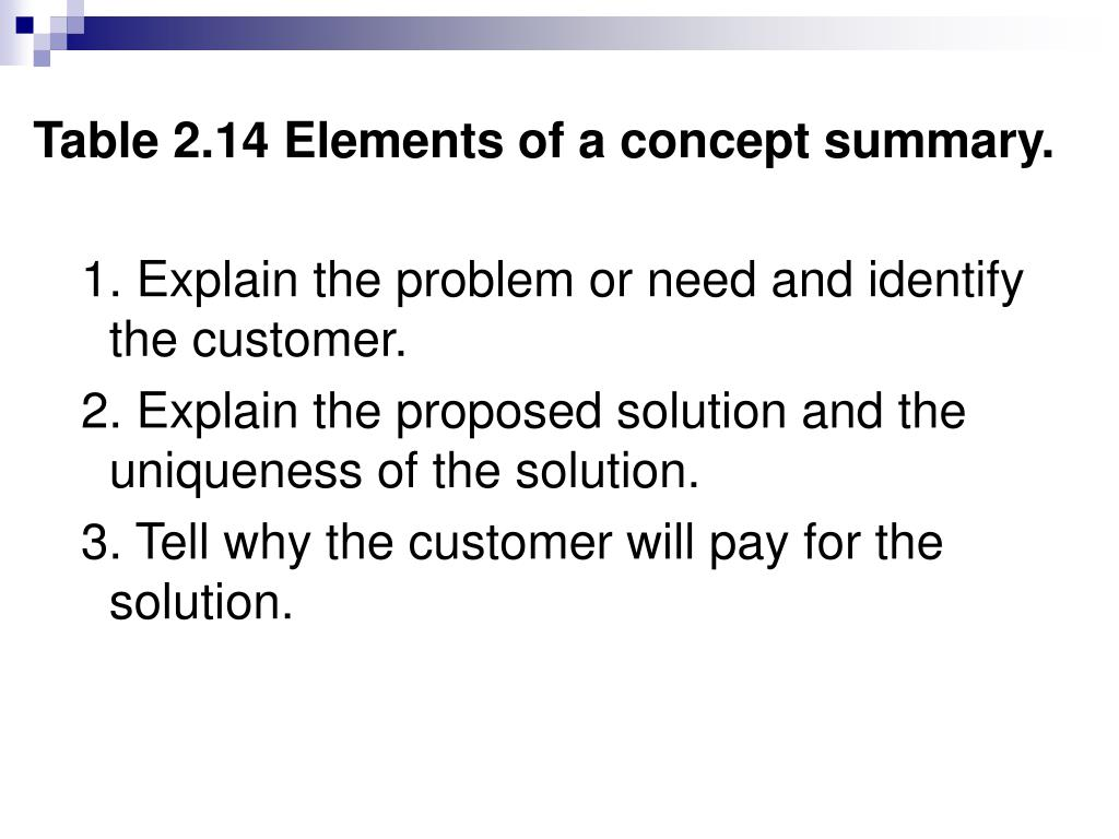 Table 2.14 Elements of a concept summary.