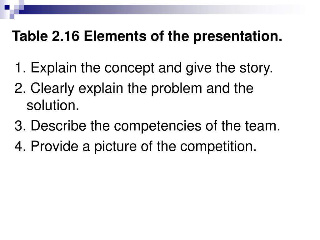 Table 2.16 Elements of the presentation.