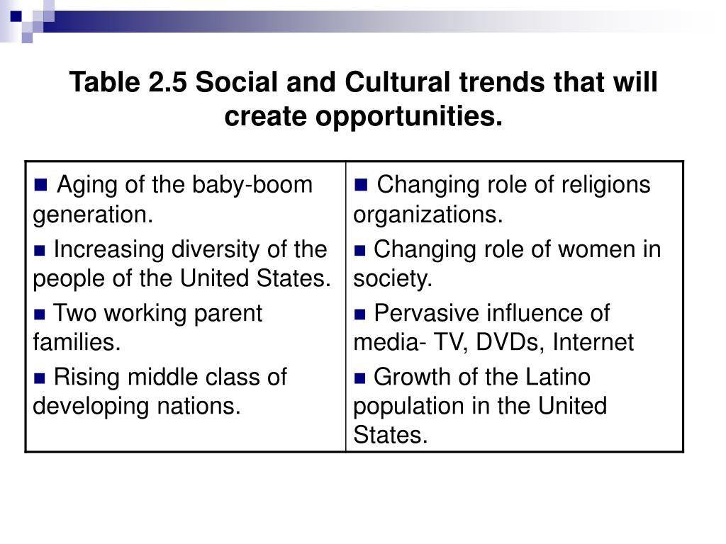 Table 2.5 Social and Cultural trends that will create opportunities.