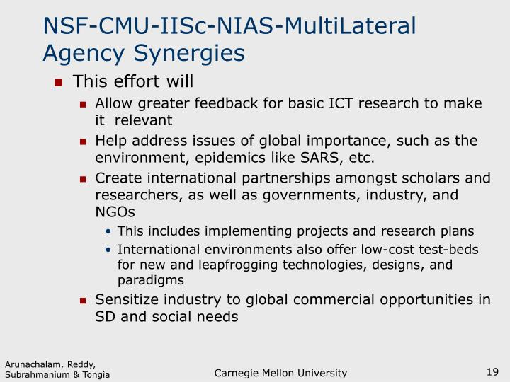 NSF-CMU-IISc-NIAS-MultiLateral Agency Synergies