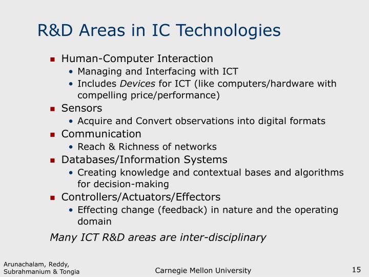 R&D Areas in IC Technologies