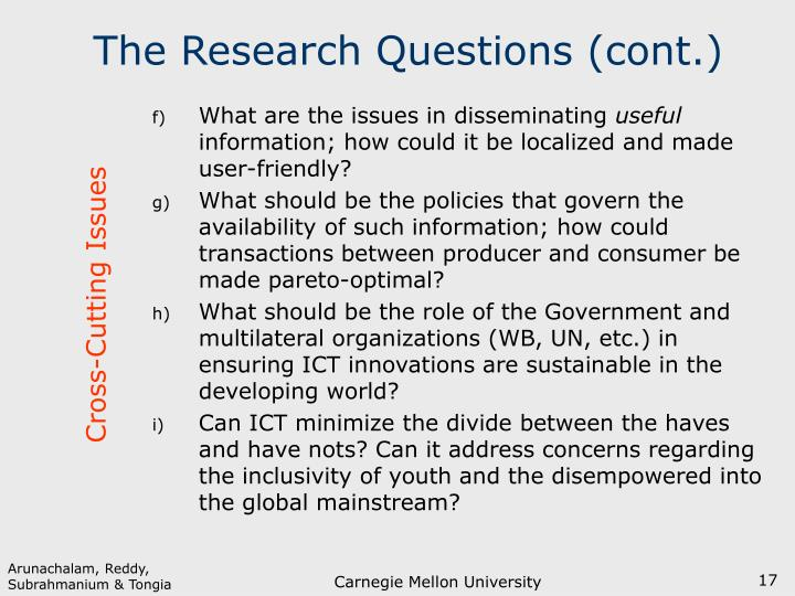 The Research Questions (cont.)