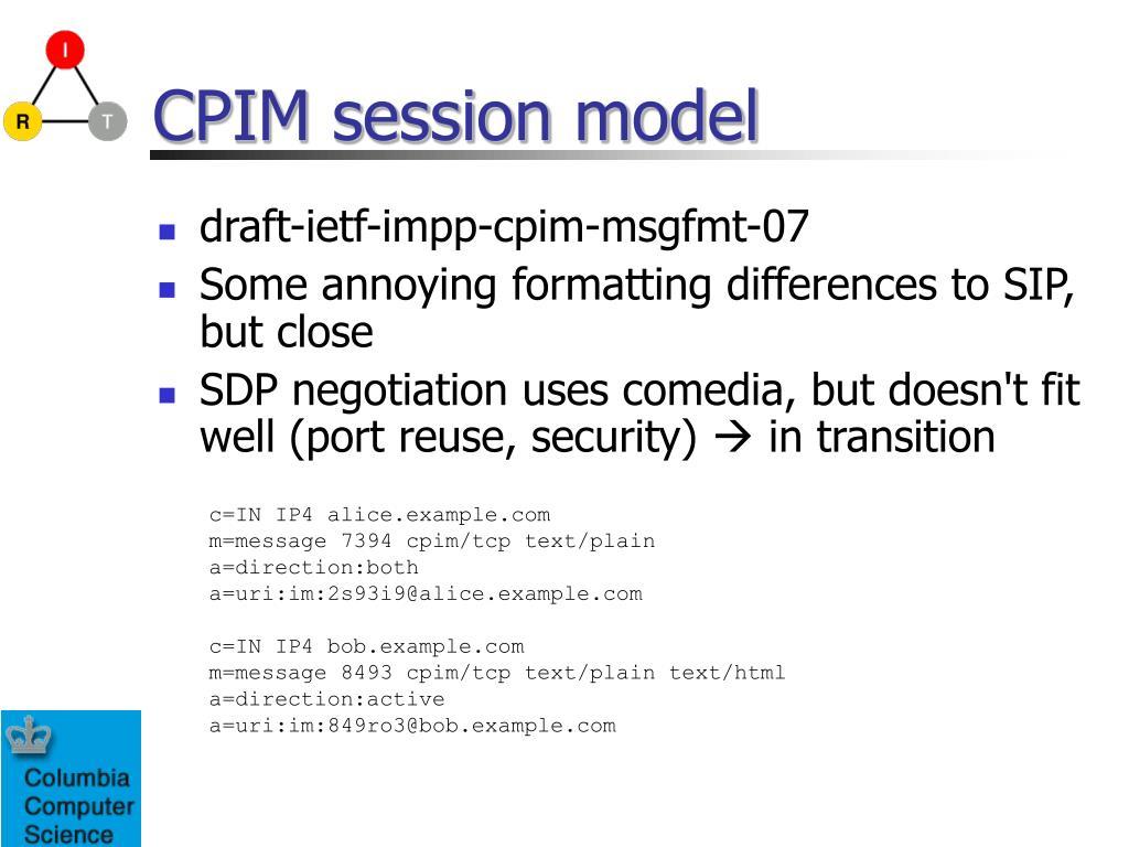CPIM session model