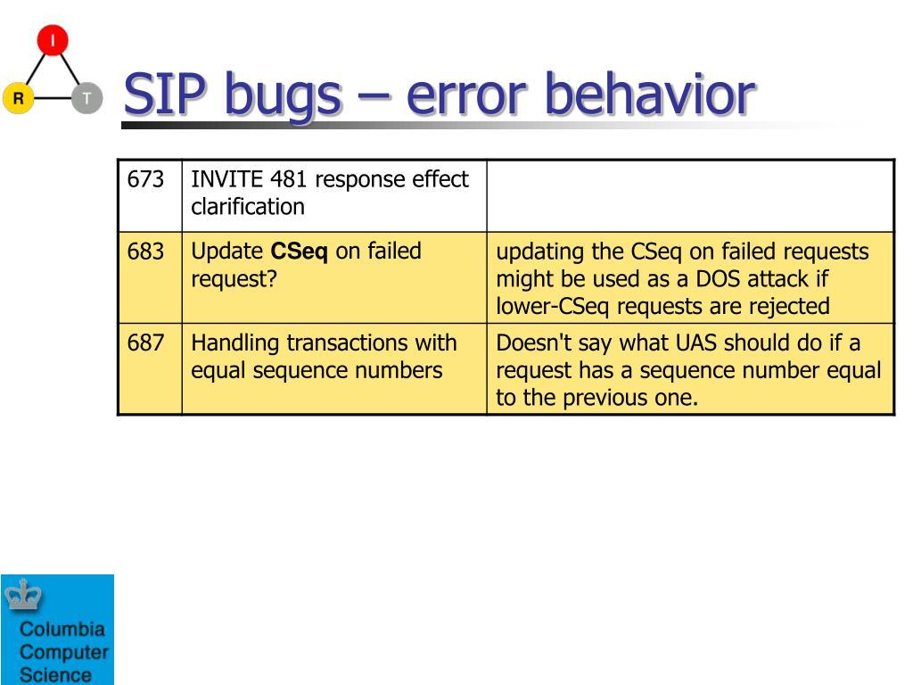SIP bugs – error behavior