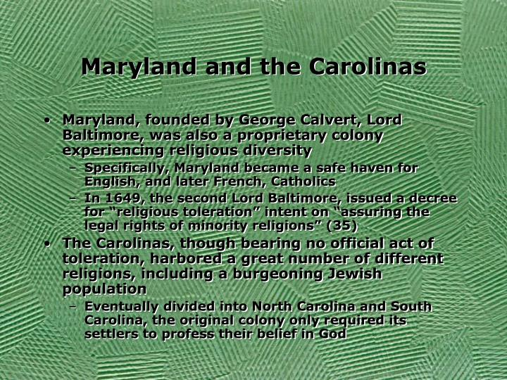 Maryland and the Carolinas