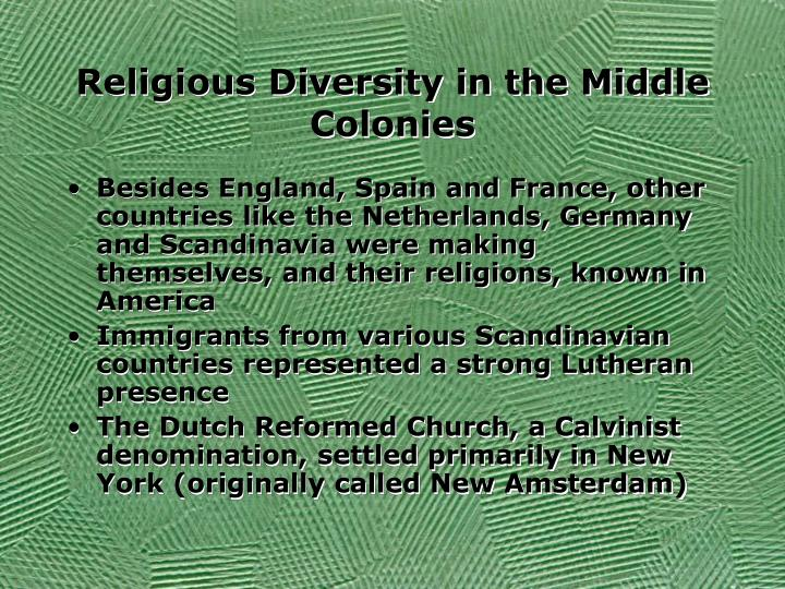Religious diversity in the middle colonies