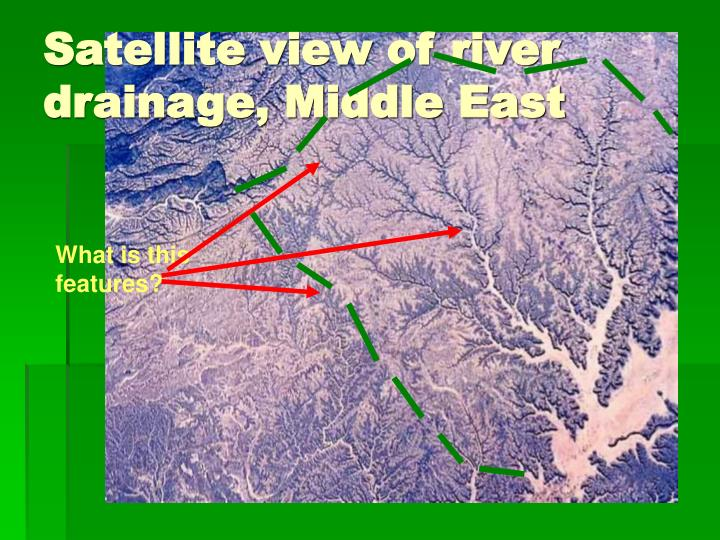 Satellite view of river drainage middle east