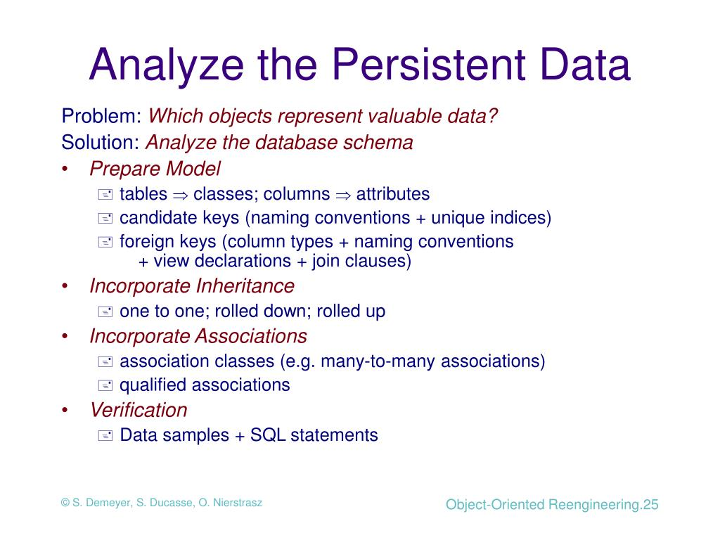 Analyze the Persistent Data
