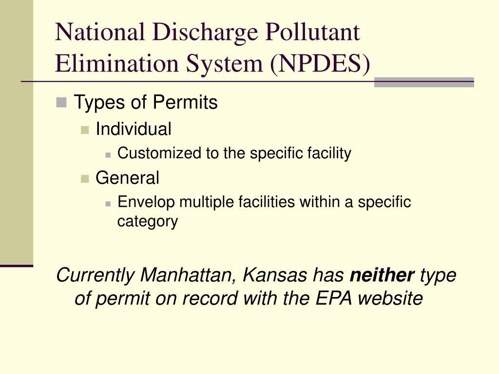 National Discharge Pollutant Elimination System (NPDES)