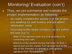 monitoring evaluation con t