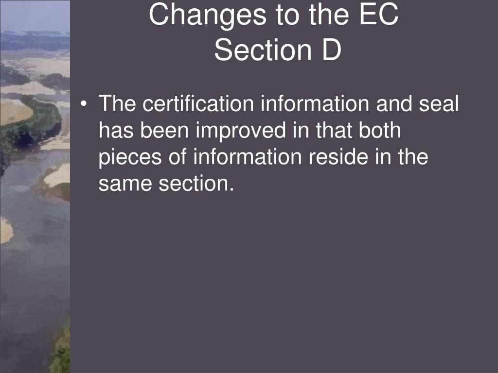 Changes to the EC