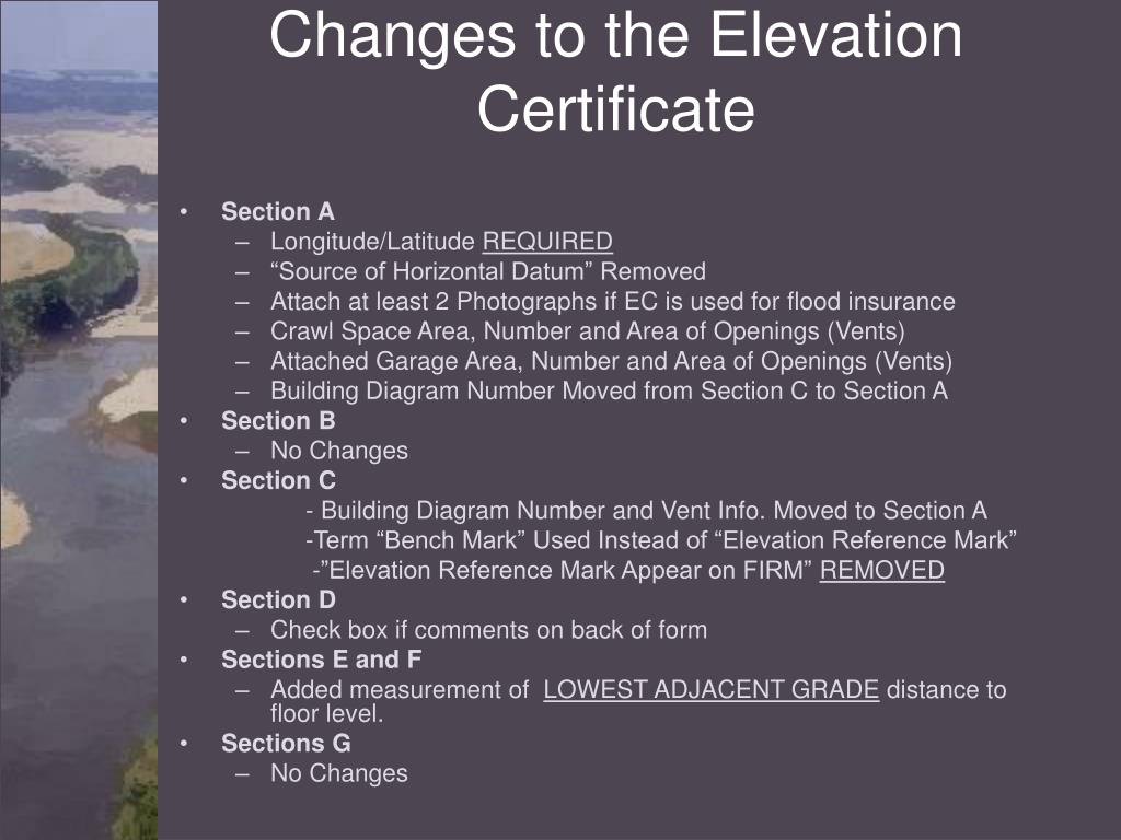 Changes to the Elevation Certificate